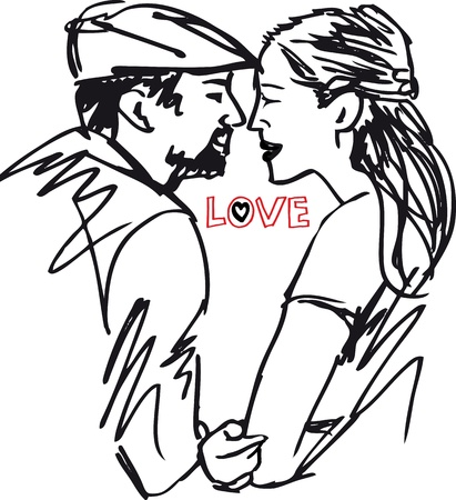 couple having fun: Sketch of couple. illustration. Illustration