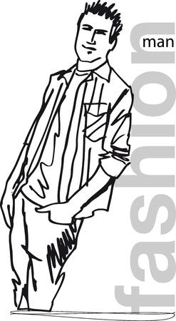 t shirt model: Sketch di moda uomo bello. illustrazione