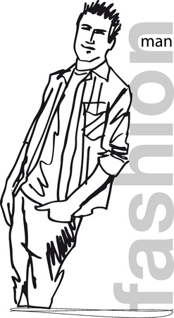 tee shirt template: Sketch of fashion handsome man. illustration