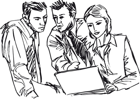 Sketch of successful business people working with laptop at office Ilustração