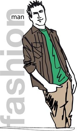Schets van de mode knappe man. illustratie
