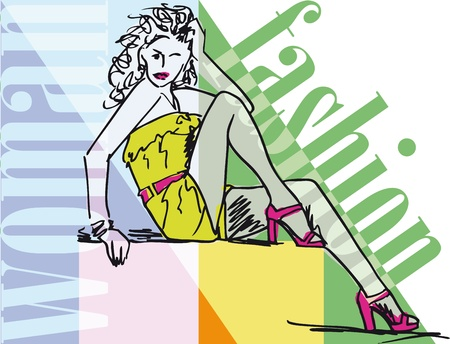 Sketch of Sexy fashion girl. illustration Stock Vector - 12145370