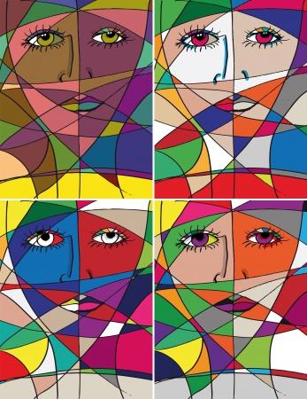 女性顔を抽象化します。図  イラスト・ベクター素材