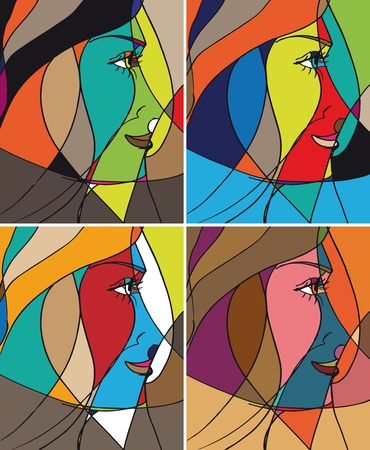 abstract portrait: Abstract woman face. illustration