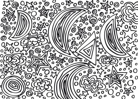 Moon and stars sketch. Vector illustration Vector