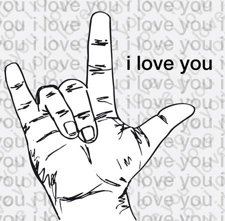 I love you hand symbolic gestures. Vector illustration Stock Vector - 12288551