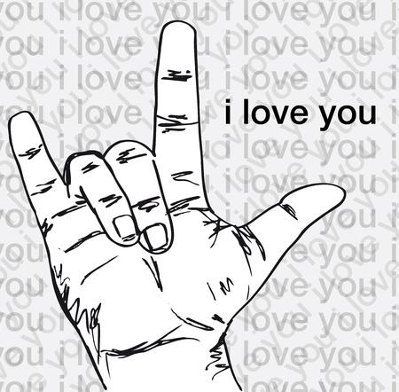 express feelings: I love you hand symbolic gestures. Vector illustration Illustration