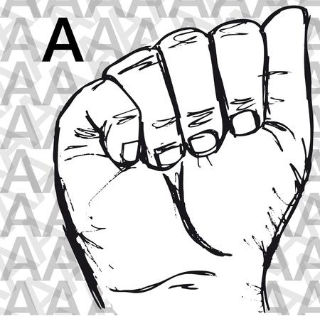 Sketch dei gesti della lingua dei segni a mano, una lettera. Vector illustration Vettoriali
