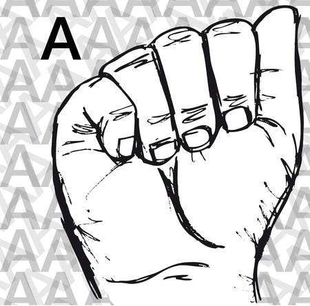 Croquis de gestes de langue des signes des mains, une lettre. Vector illustration