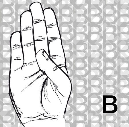 Sketch of Sign Language Hand Gestures, Letter b. Vector illustration