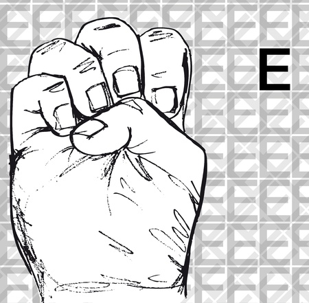 Sketch of Sign Language Hand Gestures, Letter e. Vector illustration Vector