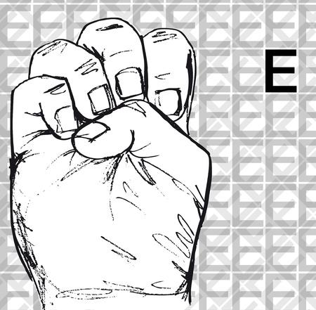 Croquis de gestes de la main signe de langue, lettre e. Vector illustration