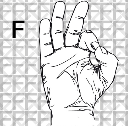 three pointer: Sketch of Sign Language Hand Gestures, Letter f. Vector illustration
