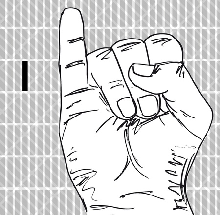 Sketch of Sign Language Hand Gestures, Letter i. Vector illustration Vector