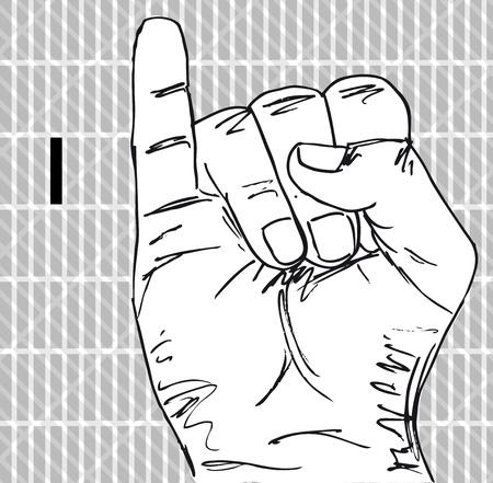 Croquis de gestes de la main Signe langue, lettre i. Vector illustration