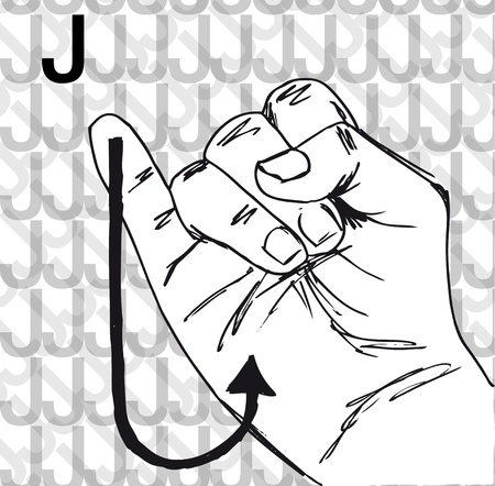 Sketch of Sign Language Hand Gestures, Letter j. Vector illustration Vector