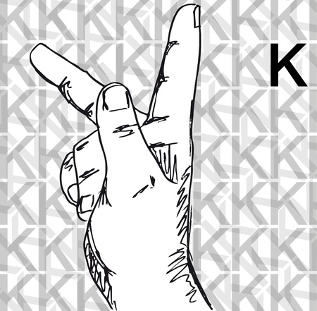 Sketch of Sign Language Hand Gestures, Letter k. Vector illustration Vector