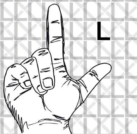 Sketch of Sign Language Hand Gestures, Letter l. Vector illustration Vector