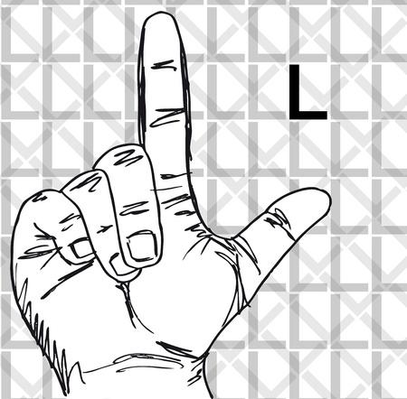 gesture set: Sketch of Sign Language Hand Gestures, Letter l. Vector illustration