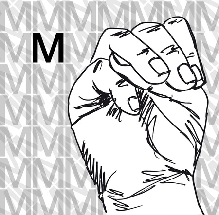 gesture set: Sketch of Sign Language Hand Gestures, Letter m. Vector illustration Illustration