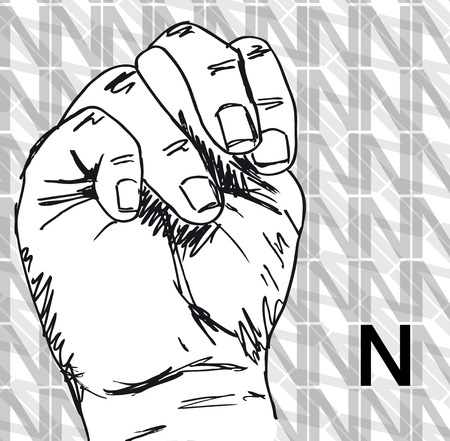 Sketch of Sign Language Hand Gestures, Letter n. Vector illustration