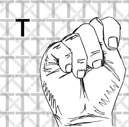 Croquis de gestes de langue des signes à main, lettre t. Vector illustration