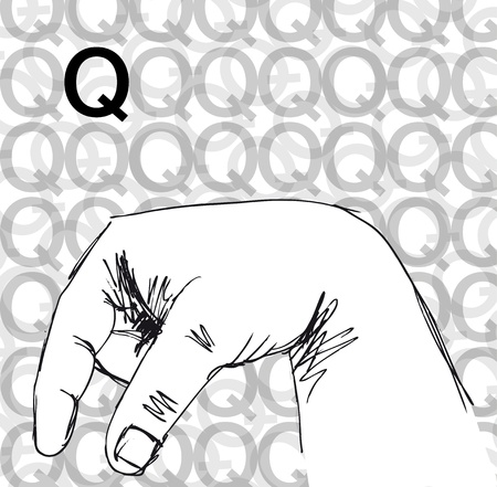 Sketch of Sign Language Hand Gestures, Letter q. Vector illustration Vector