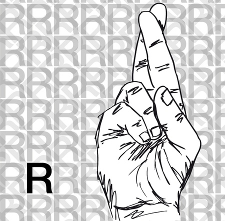 palm reading: Sketch of Sign Language Hand Gestures, Letter r. Vector illustration