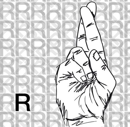 Croquis de gestes de langue des signes à main, lettre r. Vector illustration