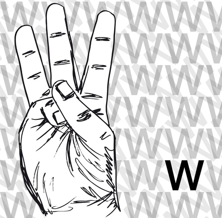 Sketch of Sign Language Hand Gestures, Letter w. Vector illustration