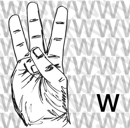 gesture set: Sketch of Sign Language Hand Gestures, Letter w. Vector illustration