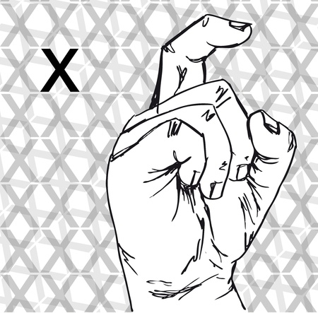 Sketch of Sign Language Hand Gestures, Letter x. Vector illustration Vector
