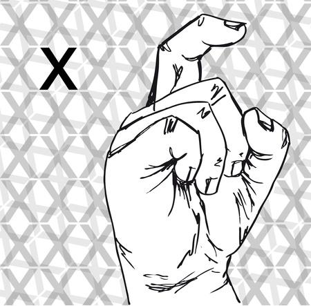 gesture set: Sketch of Sign Language Hand Gestures, Letter x. Vector illustration Illustration