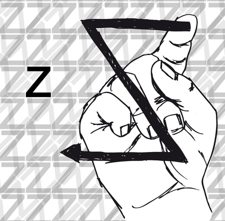 zzz: Sketch of Sign Language Hand Gestures, Letter z. Vector illustration
