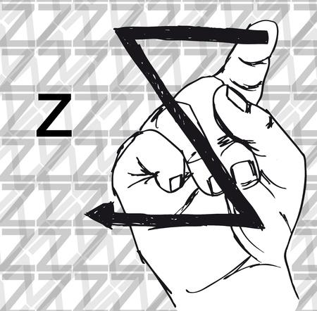 buchstabe z: Sketch of Sign Language Handgesten, Buchstabe Z. Vektor-Illustration