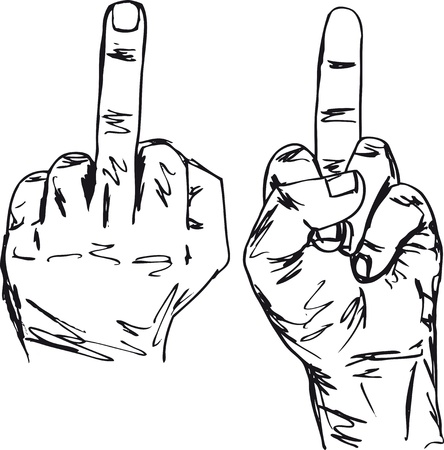 geste: Sketch of Hand show fuck off with the middle finger. Vector illustration Illustration