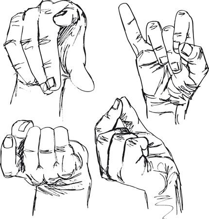schets van gebaren met de handen. vector illustratie