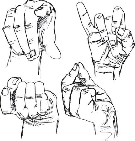 come up to: sketch of gestures by hands. vector illustration