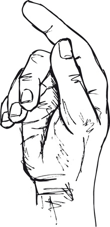 touch down: Sketch of hand in the gesture of touching, pushing, indicating. Illustration