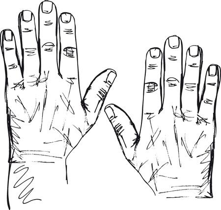 numero diez: Boceto de la mano derecha y la izquierda. Ilustraci�n vectorial