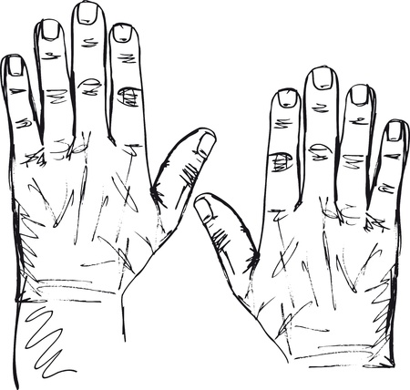 the left: Sketch of right and left hand. Vector illustration