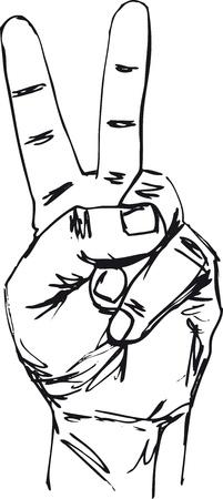 symbole de la paix: Croquis de la main en signe la victoire. Vector illustration