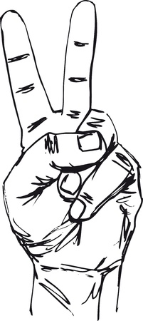 Sketch of hand in victory sign. Vector illustration