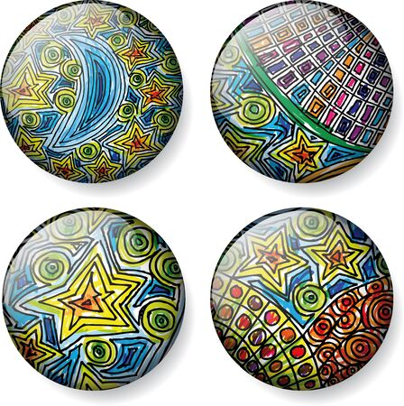 Moon and stars sketch round vector buttons Vector