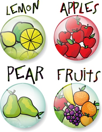 Different fruit sketch round vector buttons.  Illustration