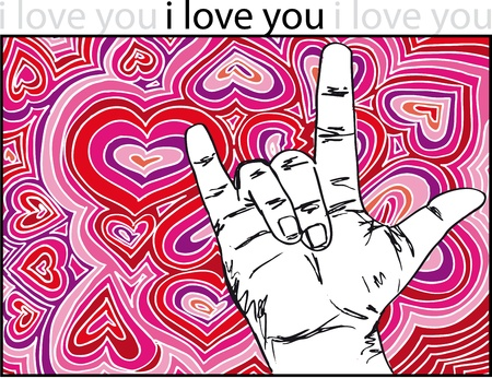 sign language for I LOVE YOU with abstract hearts background.Vector illustration  Vector