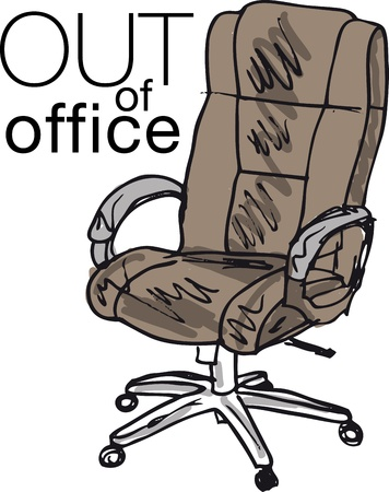 leather chair: out of office. Vector illustration Illustration