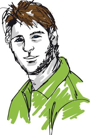 Sketch di moda uomo bello. Vector illustration Vettoriali