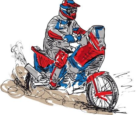 Sketch di aumento della velocità moto da cross in pista. Vector illustr Vettoriali