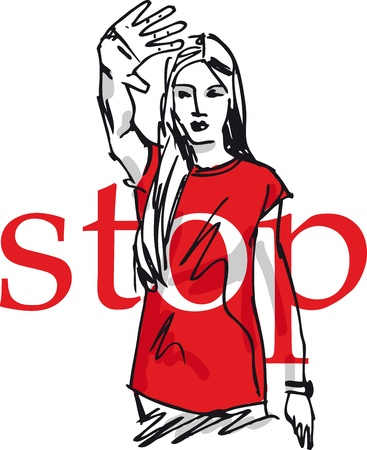 stop hand: sketch of Woman showing his hand in signal of stop. vector illustration